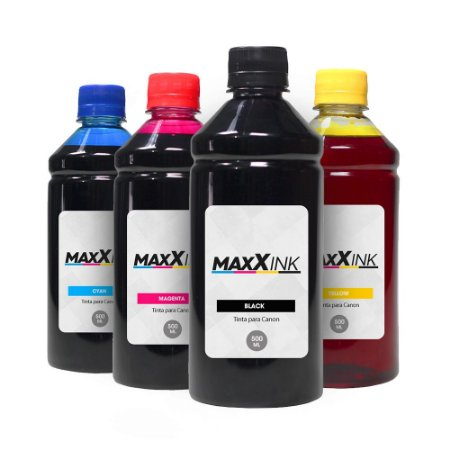 Compatível Kit 4 Tintas Canon MG2510 CMYK 500ml Maxx Ink