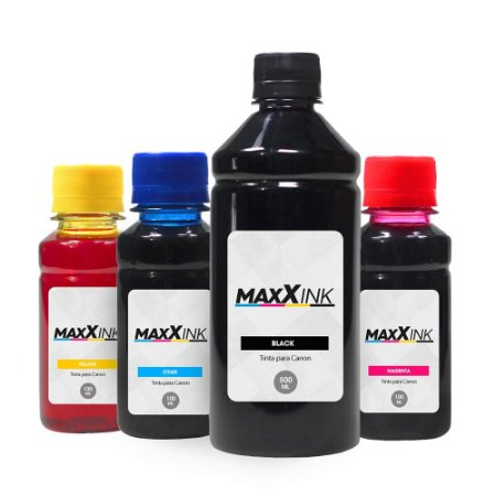 Compatível Kit 4 Tintas Canon G3100 Black 500ml Coloridas 100ml Maxx Ink