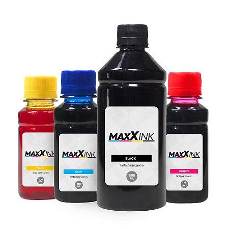 Compatível Kit 4 Tintas Canon MG2510 Black 500ml Coloridas 100ml Maxx Ink