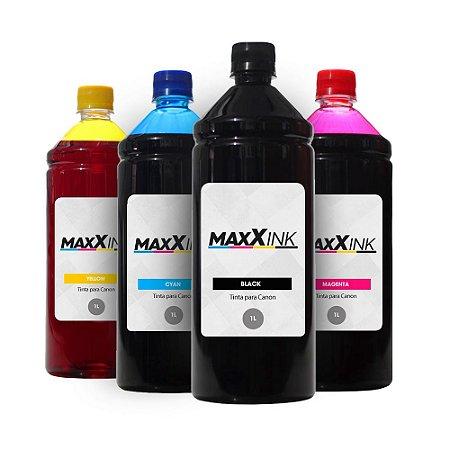 Compatível Kit 4 Tintas Canon Gl-190 CMYK 1 Litro Maxx Ink