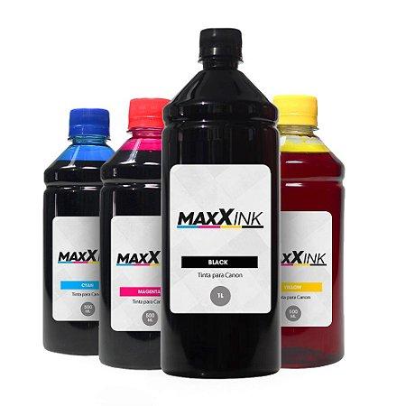 Compatível Kit 4 Tintas Canon G1110 Black 1 Litro Coloridas 500ml Maxx Ink