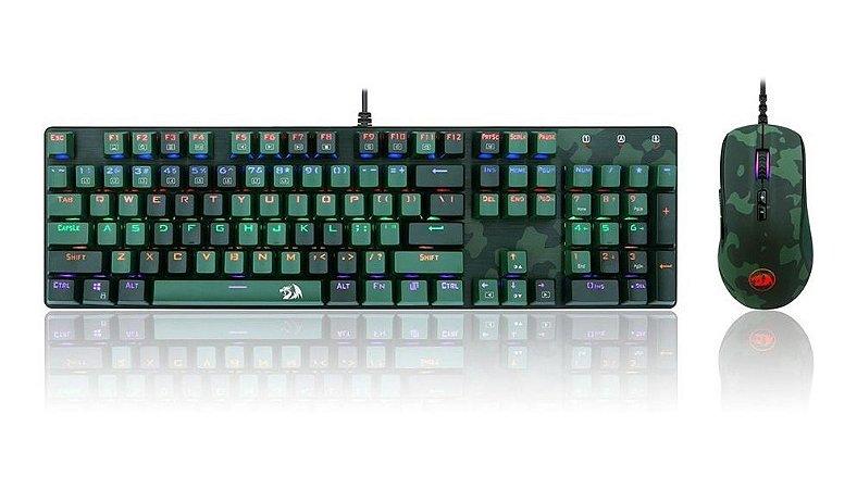 Kit Redragon Teclado Mecânico Mouse Hunter Dark Green S108