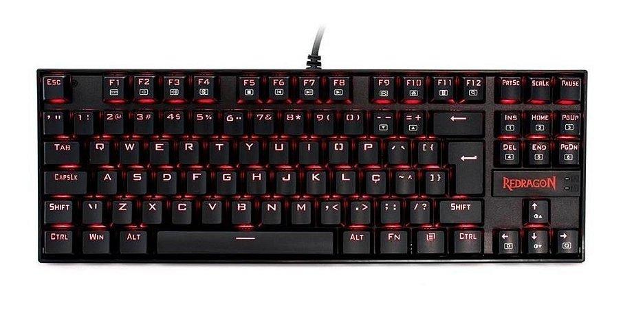 Teclado Gamer kumara single color vermelho switch brown - Redragon