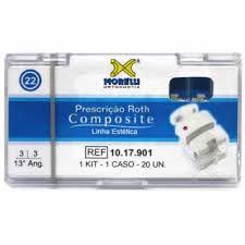 """Kit de Bráquetes 01 caso Prescrição Roth Composite .022"""" Gancho Can./Prés"""