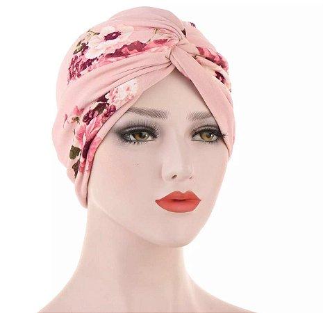 Turbante floral - rosa