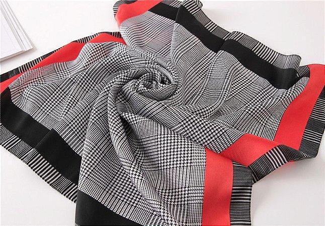 Lenço xadrez - detalhe vermelho e preto 70x70cm