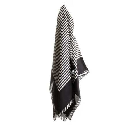 Lenço listras preto e branco 70x70cm