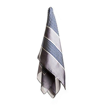 Lenço cinza com poá branco e fundo azul 70x70cm