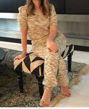 Conjunto Tweed - nude com fios dourados