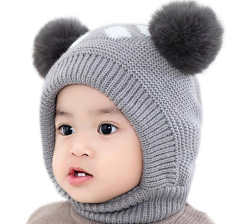 Touca cinza de tricô infantil - pompom duplo - forro peluciado
