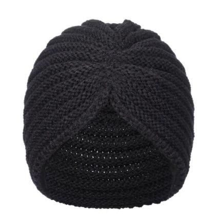 Turbante de tricô preto
