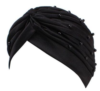 Turbante com pérolas - preto e branco