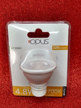 Lâmpada led 4.8w 2700k mr16 branco quente - mini dicroica lp30661 - Opus