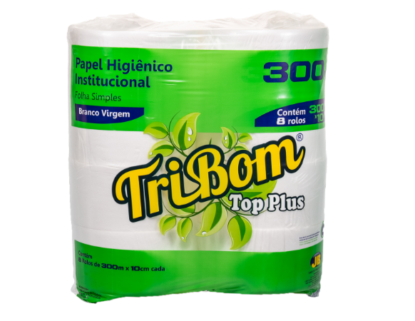 Papel Higiênico Tribom Top Plus Virgem 9cm X 300 m Rolão