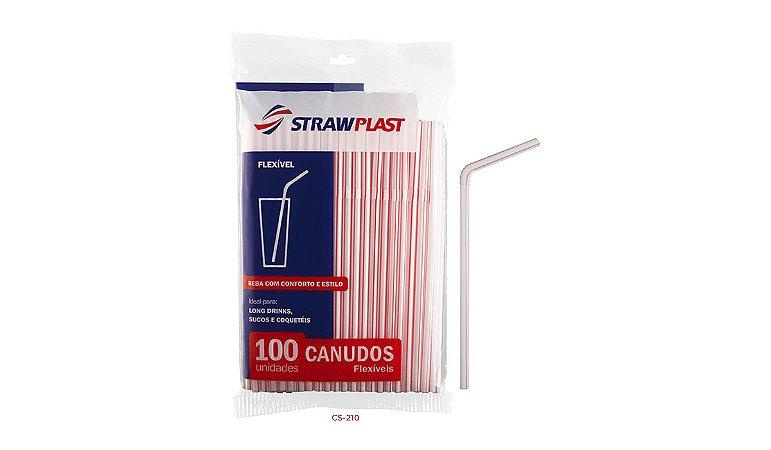 Canudo Flexível 6 Mm Vermelho Strawplast Pct 100