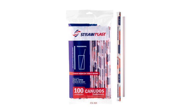 Canudo Tradicional 5 Mm Sache Strawplast Pct 100