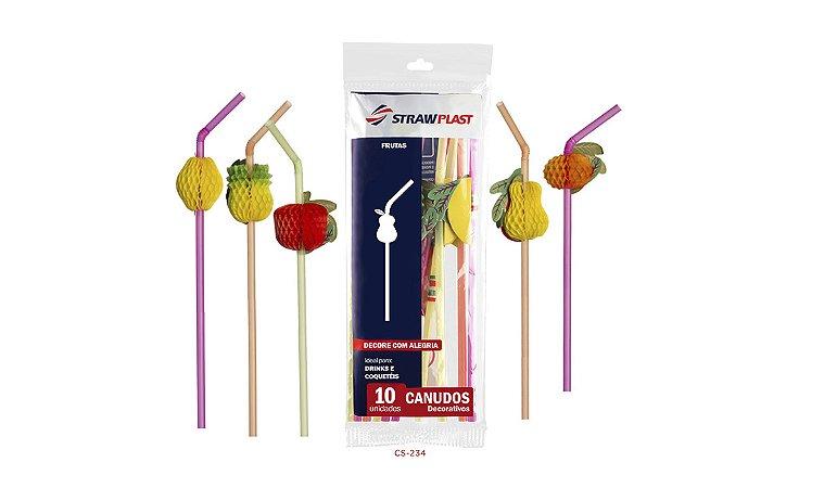 Canudo Flexível 6 Mm Artístico Frutas Strawplast Pct 10