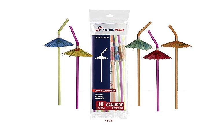 Canudo Flexível 6 Mm Artístico Guarda Chuva Strawplast Pct 10