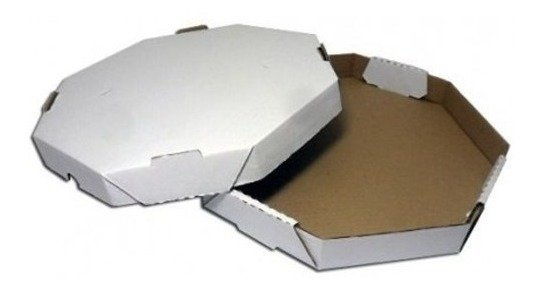 Caixa de Pizza Oitavada Branco Lisa - 25cm