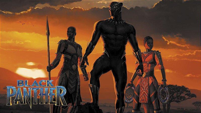Painel de Festa Infantil Personalizado em Tecido Tema Pantera Negra Marvel 8