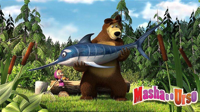 Painel de Festa Infantil Personalizado em Tecido Tema Masha e o Urso 7
