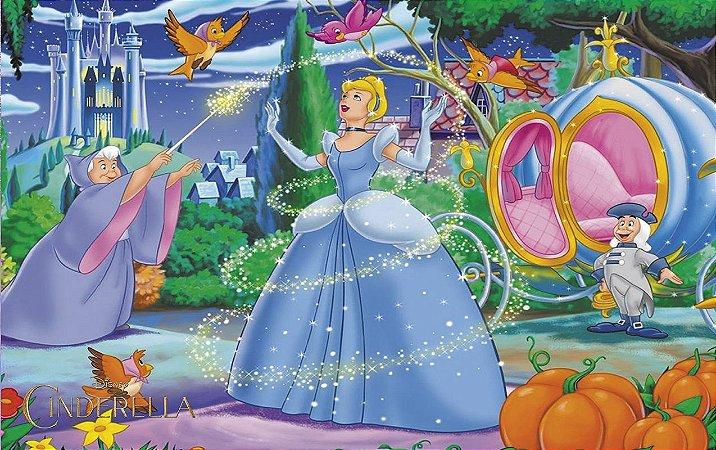 Painel de Festa Infantil Personalizado em Tecido Tema Cinderela 16