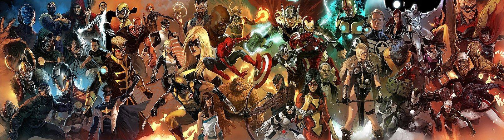 Painel de Festa Infantil Personalizado em Tecido Grande Heróis da Marvel