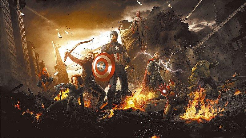 Painel de Festa Infantil Personalizado em Tecido Tema Vingadores Marvel 11