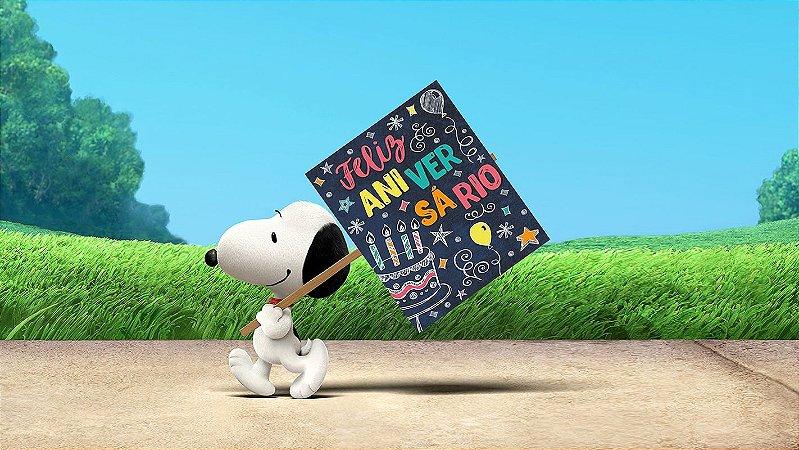 Painel de Festa Infantil Personalizado em Tecido Tema Snoopy 12