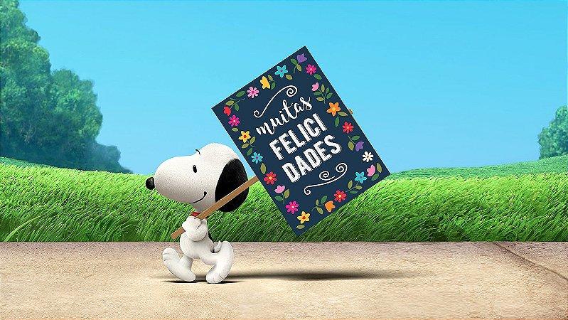 Painel de Festa Infantil Personalizado em Tecido Tema Snoopy 13