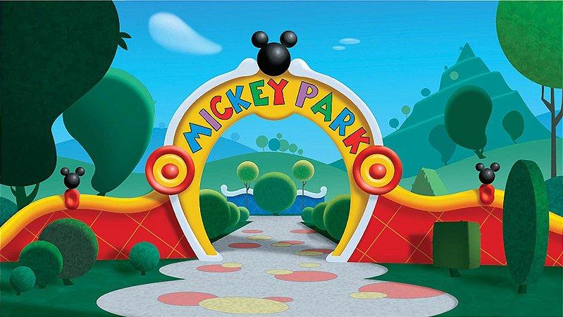 Painel de Festa Infantil Personalizado em Tecido Mickey Park Disney
