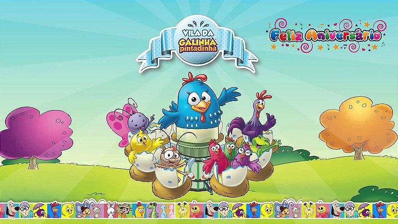 Painel de Festa Infantil Personalizado em Tecido Galinha Pintadinha 13