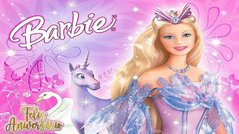 Painel de Festa Infantil Personalizado em Tecido Barbie 7