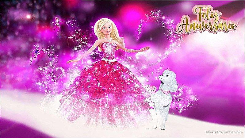 Painel de Festa Infantil Personalizado em Tecido Barbie 9
