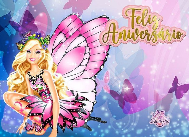 Painel de Festa Infantil Personalizado em Tecido Barbie 10