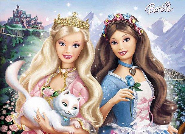 Painel de Festa Infantil Personalizado em Tecido Barbie 13