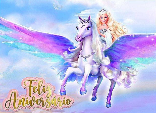 Painel de Festa Infantil Personalizado em Tecido Barbie 16
