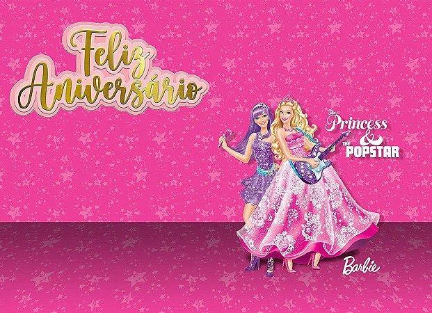 Painel de Festa Infantil Personalizado em Tecido Barbie 18
