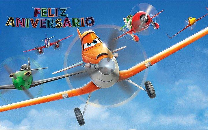 Painel de Festa Infantil Personalizado em Tecido 138x87cm Tema Aviões Disney