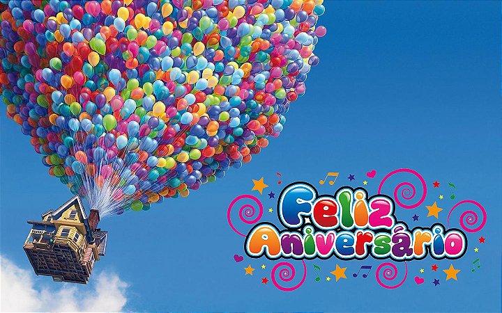 Painel de Festa Infantil Personalizado em Tecido Tema UP Altas Aventuras Disney 2