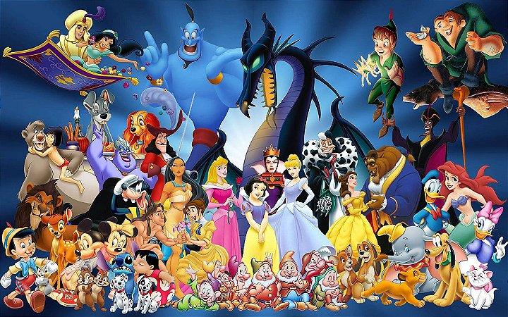 Painel de Festa Infantil Personalizado em Tecido Personagens Disney 1