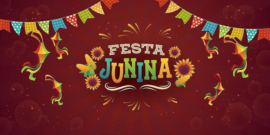 Painel de Festa Infantil Personalizado em Tecido Festa Junina 138x70cm 1