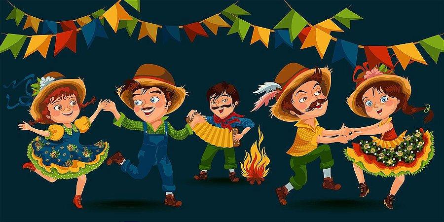 Painel de Festa Infantil Personalizado em Tecido Festa Junina 138x70cm 2