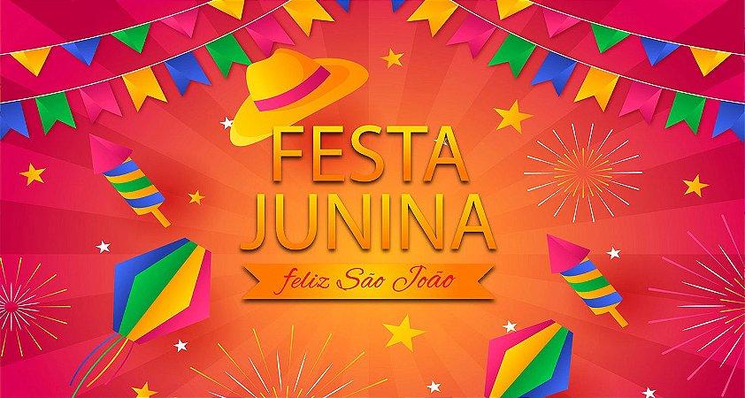 Painel de Festa Infantil Personalizado em Tecido Festa Junina 138x74cm 3