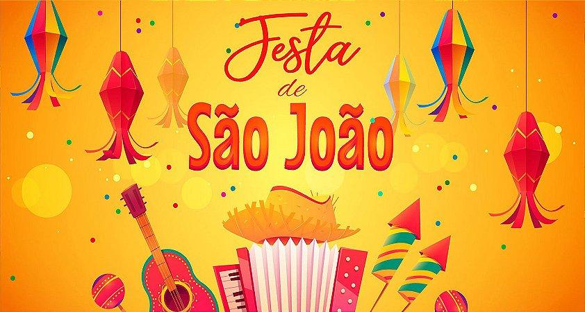 Painel de Festa Infantil Personalizado em Tecido Festa Junina 138x74cm 4