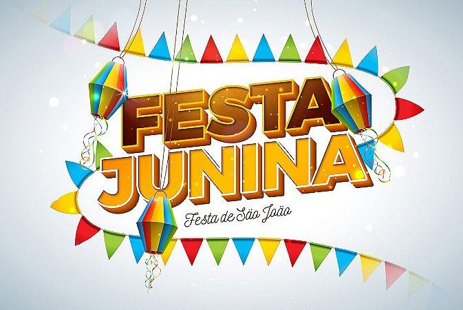 Painel de Festa Infantil Personalizado em Tecido Festa Junina 138x92cm