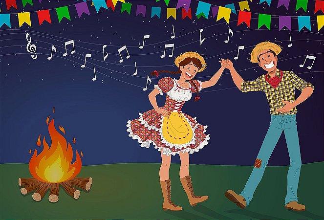Painel de Festa Infantil Personalizado em Tecido Festa Junina 138x94cm