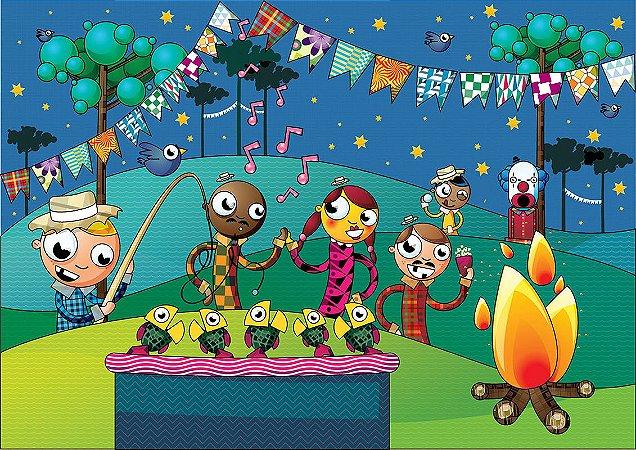Painel de Festa Infantil Personalizado em Tecido Festa Junina 138x98cm 1