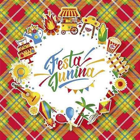 Painel de Festa Infantil Personalizado em Tecido Festa Junina Quadrado 138x138cm 3