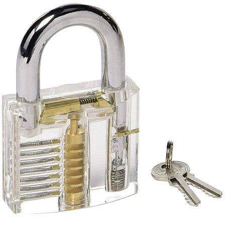 Cadeado Acrílico Transparente 50 mm 7 Pinos para Treinamento Chaveiro